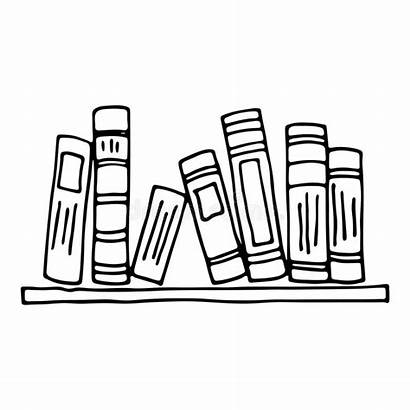 Shelf Books Doodle Isolated Libri Bookshelf Cartoon