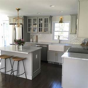 Small Gray Kitchen With Mini Subway Tiles That Go Halfway