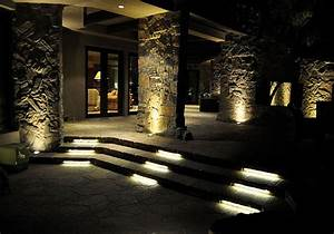 Outdoor led lighting for patios : Led stone patio and stair lighting contemporary