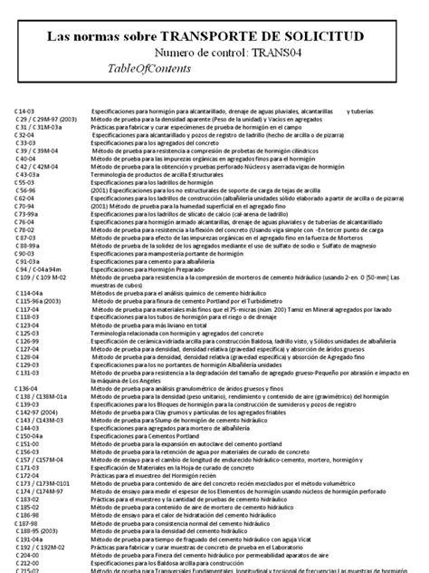 LISTADO DE NORMAS A.S.T.M. | Hormigón | Cemento