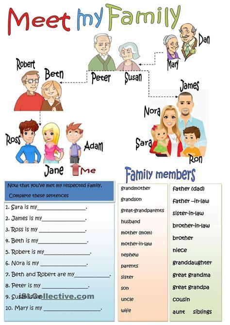 family members membros da familia em ingles atividades