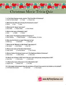 Free Printable Christmas Movie Trivia Game