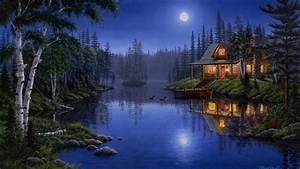 1920x1080 Lake, Moonlight, Night, House, Painting, Forest ...