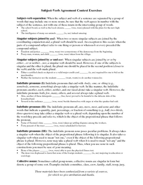 all worksheets 187 subject verb agreement worksheets for