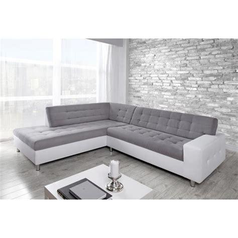 canapé d angle gris et blanc java canapé d 39 angle gauche simili 6 places 250x211x79 cm