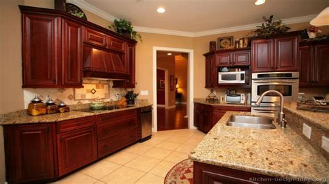 Kitchen wall colors with dark cabinets, cherry wood color