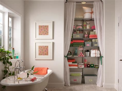bathroom and closet designs use curtains to conceal storage this bathroom s storage