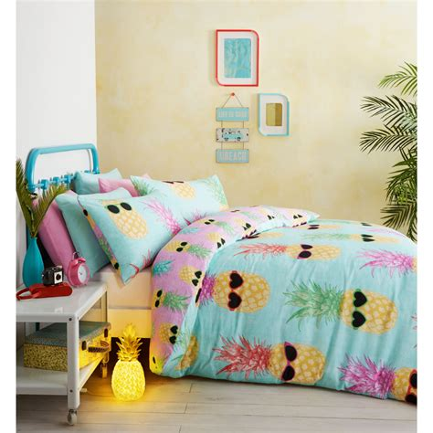 grey comforter catherine lansfield funky pineapple bedding set multi