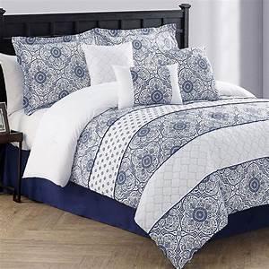 Lucille, 7, Pc, Navy, Blue, Comforter, Bed, Set