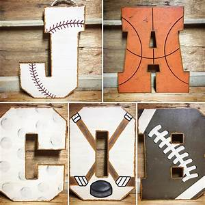 sports themed wall letters for nursery or kids room With sports themed wall letters