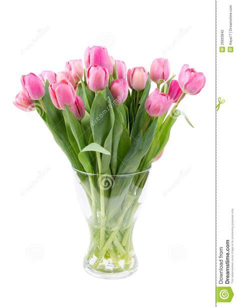 vase für tulpen blumenstrau 223 der rosa tulpen in einem klaren vase stockfotografie bild 29933842