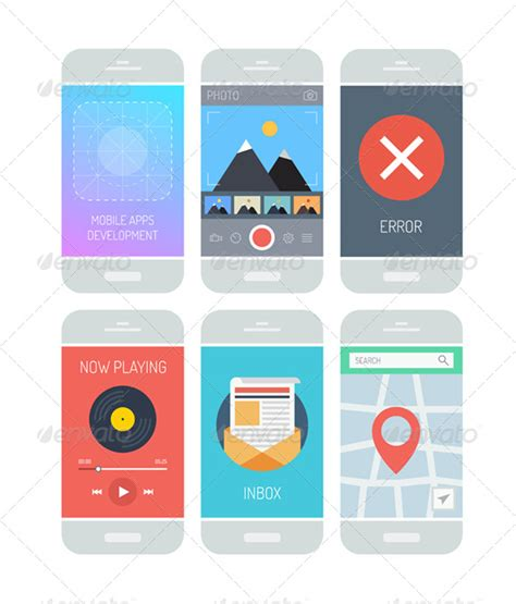 black modern smartphone with application icons on the smartphone application interface elements graphicriver
