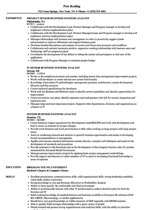 Business Systems Analyst Resume by Senior Business Systems Analyst Resume Sles Velvet