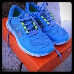 off Nike Shoes 😋 Sky Blue & Lime Green Nike Free Run