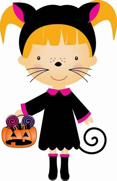 Halloween Clipart Children Dressed Silhouette Costumes Clip