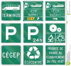 Guide Road Signs In Quebec - Canada Stock Illustration ...