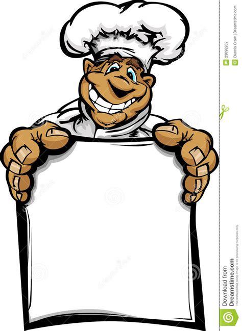 dessin animé de cuisine carte de sourire de fixation de chef de cuisine de dessin
