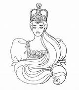 Coloring Queen Alphabet sketch template