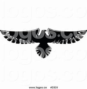 Royalty Free Vector of a Black and White Flying Eagle Logo ...