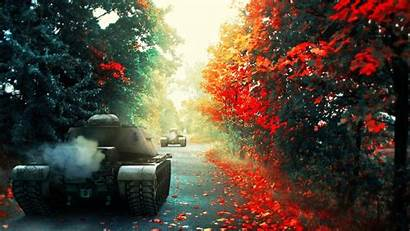 Tanks Wallpapers Wot Games Autumn Tank Road