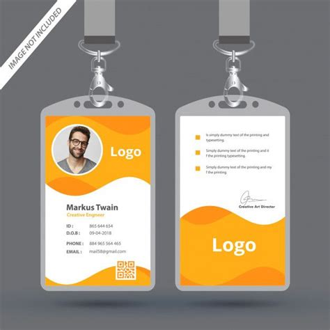 simple  clean employee id card design template