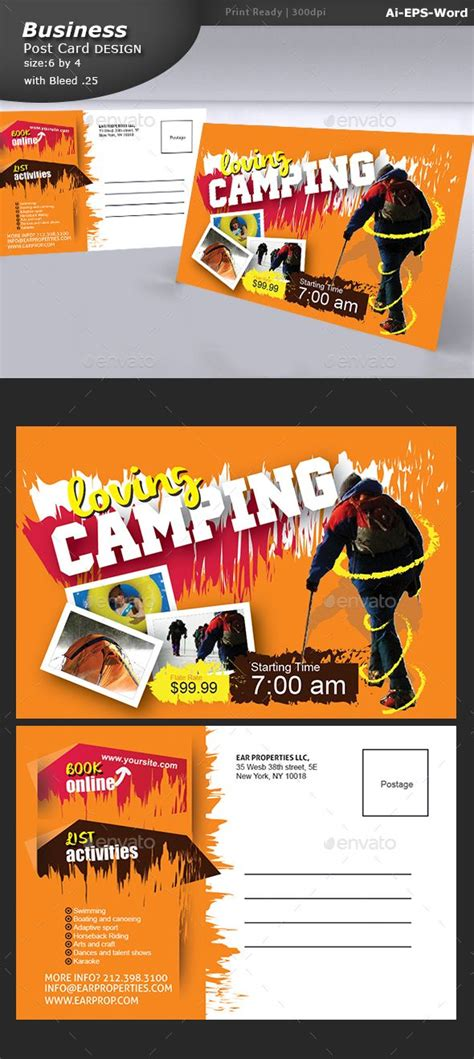 camp post card  images postcard design postcard