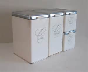 kitchen canisters ceramic 1950s ransburg white metal canister set mid century kitchen