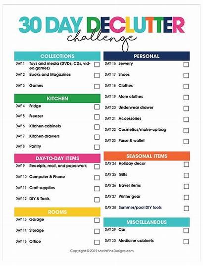 Challenge Declutter Decluttering Printable Days