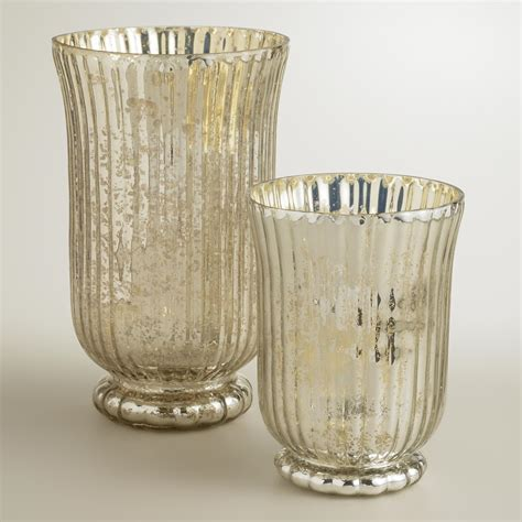 mercury glass candle holders silver ribbed mercury glass candleholders world market