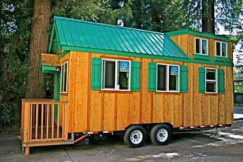 house trailer tiny house with a flip up porch