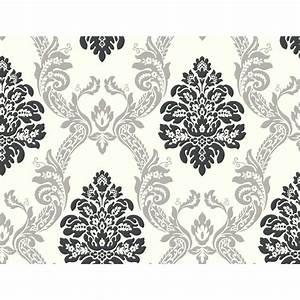 York Wallcoverings Black and White Ogee Damask Wallpaper ...