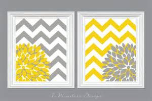 flower bursts with chevron zig zags modern home wall set of 2 8 quot x 10 quot yellow and grey