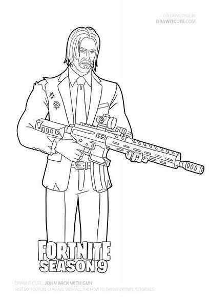 Wick Gun Draw Fortnite Coloring John Skin