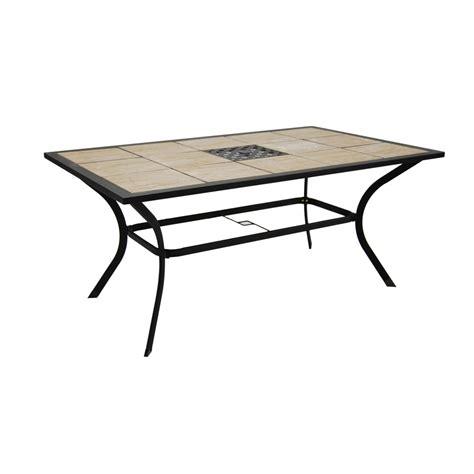 rectangular patio dining table shop garden treasures eastmoreland tile top brown