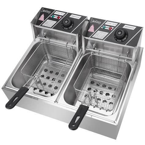 fryer deep dual electric commercial basket portable tank restaurant 5000w yall