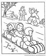 Coloring Winter Activities Seasons Sledding Toboggan Season Sheets Activity Printable Honkingdonkey sketch template