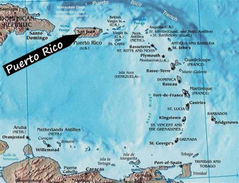 Puerto Rico and Caribbean Map