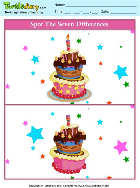 spot  differences party cake worksheet turtle diary