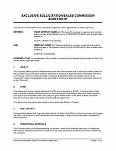 exclusive sollicitation sales commission agreement With sales commision agreement template