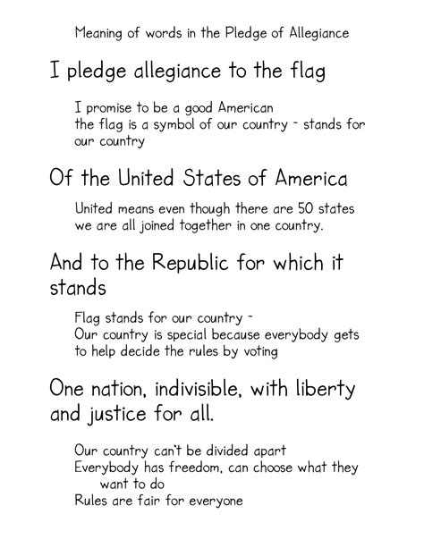 the pledge of allegiance kindergarten nana 109 | meaning of words