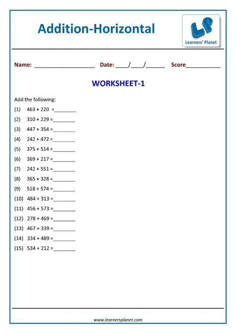 maths  digit horizontal addition worksheets  class