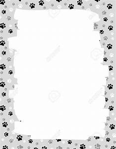 Cute Dog Cat Paw Prints Border Frame With Empty White ...