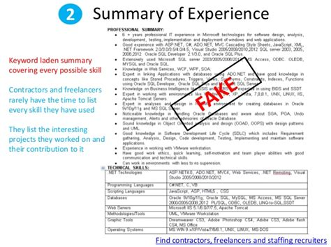 Faking Resume Experience by How To Spot A Contractor Resume