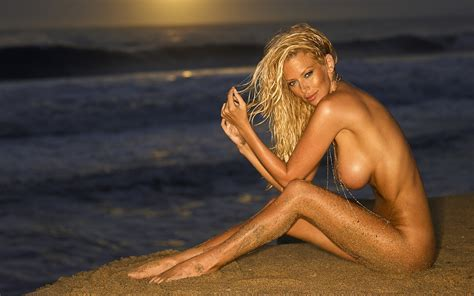 Wallpaper Girls Tits Big Nude Naked Model Buts Jenna Jameson Sea Sand Water Sunset