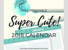 Free Printable 2018 Cute Calendar In Cyan Printables and