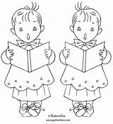 Christmas Embroidery Coloring Patterns Pages Choir Boys Designs Quilting Christian Choirboy Hand Info sketch template