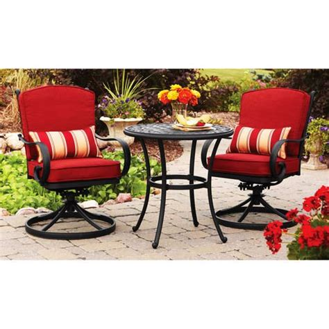 2 seat red cushion swivel patio bistro furniture set