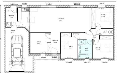 plan de maison de plain pied 3 chambres plan maison plain pied 3 chambres 1 bureau plan maison 4