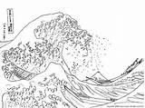 Wave Coloring Tsunami Waves Colouring Template Ocean Kanagawa sketch template