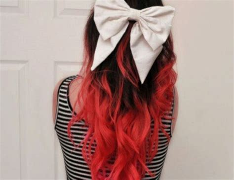 Black Hair With Red Dip Dyed Tips Hair Pinterest I